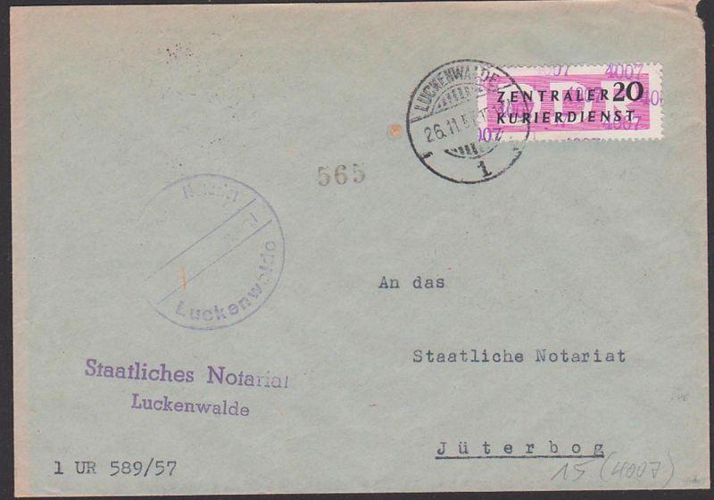 DDR ZKD 15(4007) Luckenwalde Altstempel, Staatliche Notariat, Kreisaufdruck, nach Jüterbog, Briefstempel