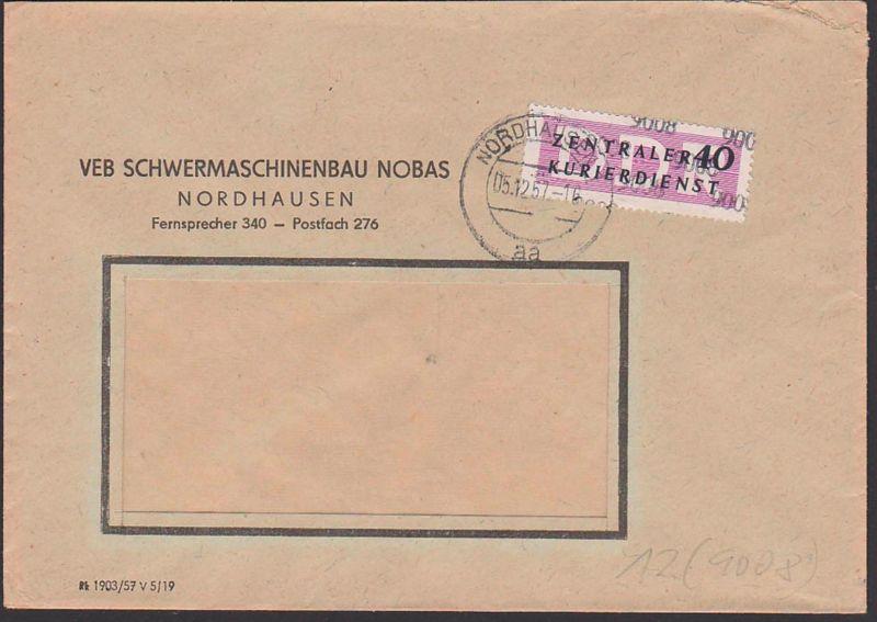 DDR ZKD 12(9008) Nordhausen Schwermaschinenbau NOBAS, Kreisaufdruck Doppelbrief, 5.12.57