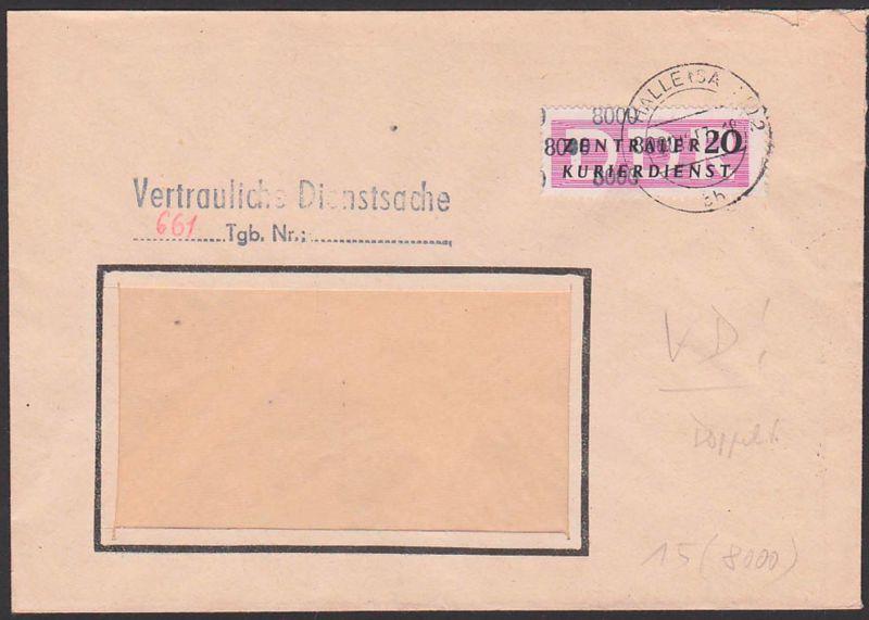 DDR ZKD 15(8000) Halle (Saale) Braunkohlenwerk Ammendorf, Kreisaufdruck Vertrauliche Dienstsache - St. 21.12.57