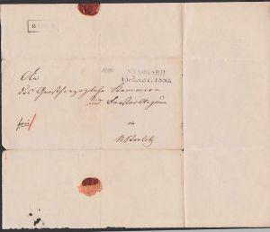 Stargard Faltbrief 15. April 1850 nach Strelitzan Grossherzogliche Kammer