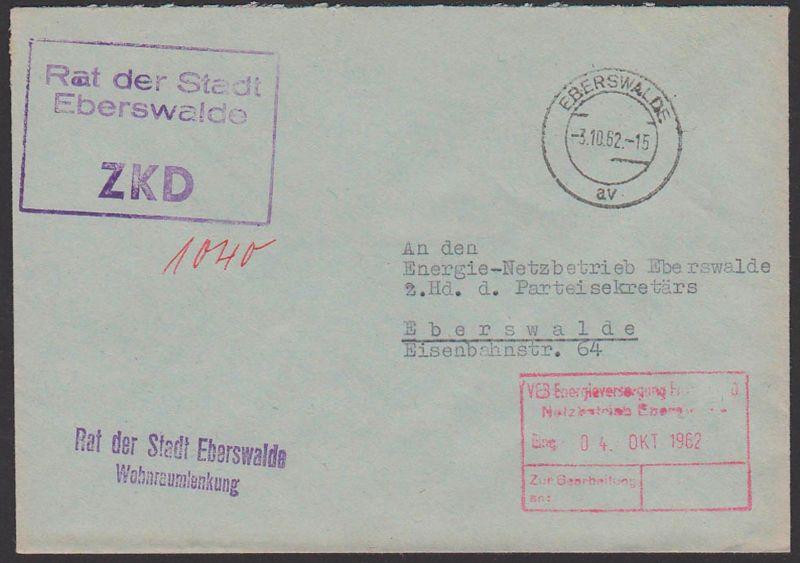 EBERSWALDE ZKD-Kastenstempel Rat der Stadt Wohnraumlenkung, Behörde 1962 als Ortsbrief