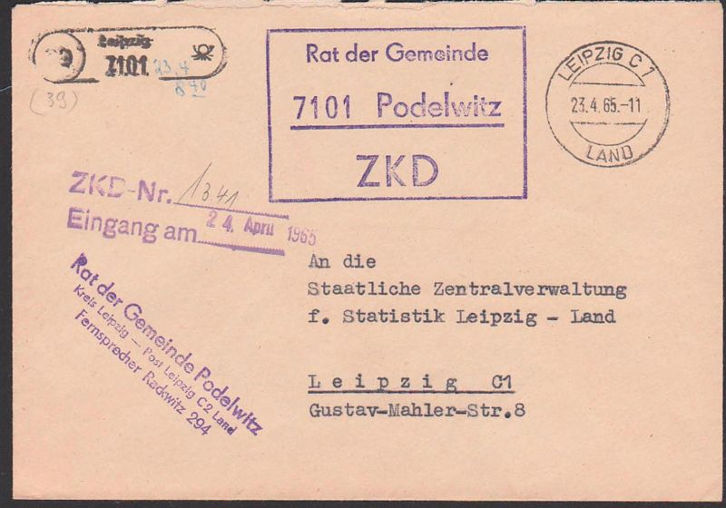 PODELWITZ Spatelstempel Leipzig ZKD-Kastenstempel Leipzig Land 1965, Rat der Gemeinde