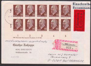 Walter Ulbricht 70 Pf(10) Rbf, Express, mit Rs und eigenhändig - portogenau DDR 983, mit Dv im Block, unten angetrennt