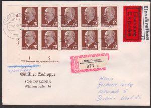 Walter Ulbricht 70 Pf(10) Rbf, Express, mit Rs und eigenhändig - portogenau DDR 983, im Block,