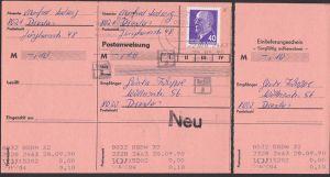 Postanweisung komplett, Walter Ulbricht 40 Pf(3) DDR 936, PA nicht eingelöst, 28.9.90, selt. Verwendungsnachweis