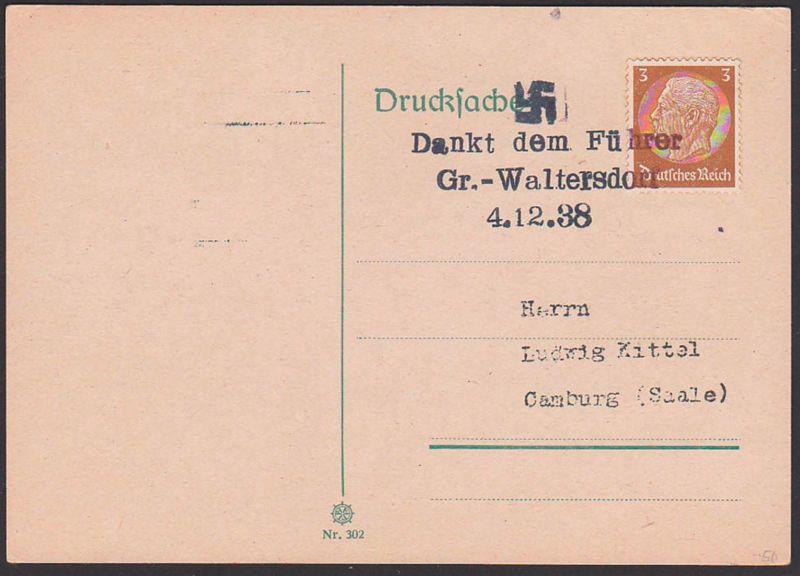 Gross-Walterdorf, Dankt dem Führer, Gummistempel 4.12.38, Velká Střelná Sudeten,