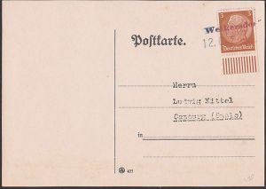Weikersdorf Sudetenland,  Vikýřovice Sudeten, Gummistempel 12.OKT 1938
