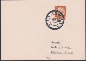 Modlan Sudetenland,  Modlany Sudeten, Gummistempel 4. DEZ 1938