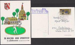 Lichtenstein Anlasskarte mit Postkutschenbeförderung Hohenstein-Ernstthal DDR Sportfest 1978