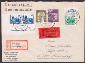 DDR 3352 500 Pf Schweriner Schloss , 10 Pf(2) mit DV  und BERLIN-West 230 Pf Flughafen Tegel, R-Eil-Brief