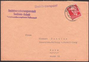SBZ Köpfe I, Behördenpost 19.7.49, Ernst Thälmann Sozialversicherungsanstalt
