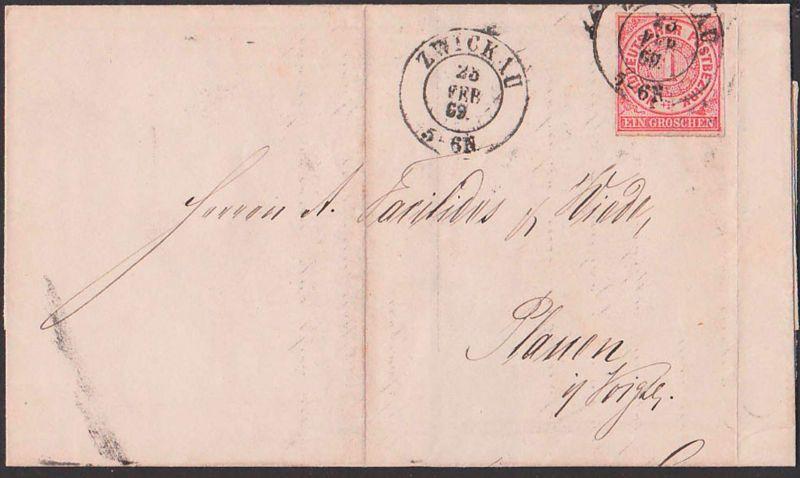 Zwickau Faltbrief 28.2.1869 mit EIN GROSCHEN durchstochen nach Plauen im Vogtland