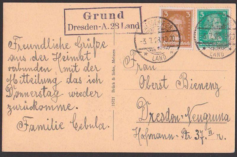Dresden A.28 Land Grund Poststellenst, auf Ak Sommerfrische Grund Mohorn Sachsen 3.7.28