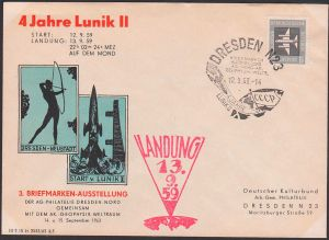 LUNIK II, SoSt. Dresden 12.9.63 Abb. Flagge CCCR, UdSSR Geophysik, Weltraum roter Landungsstempel 13.9.59