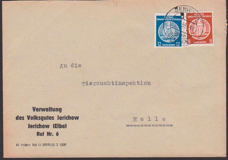 Jerichow über Genthin, Dienstpostbrief von Verwaltung Volksgut Jerichow(Elbe) DDR 1955