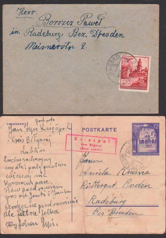 Olesko Ukraine  Generalgouvernement 1942, Karte - gebrochen - 12 Gr. GA Kriezpel über Bilgoraj District Lublin,