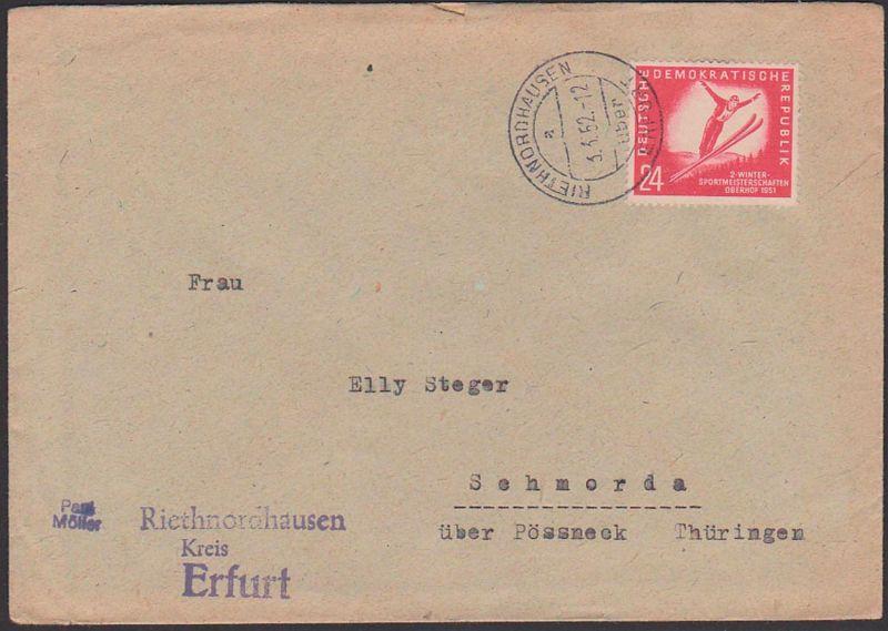 Riethnordhausen über Erfurt, Wintersportmeisterschaft 1951 Oberhof Skispringer DDR 281 nach Schmorda Pössneck