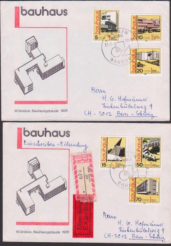 BAUHAUS W. Gropius Bauhausgebäude, kpl. gelaufen portogenau FDC DDR 2508/13 nach Bern - Schweiz, R-Eil-Auslandsbrief