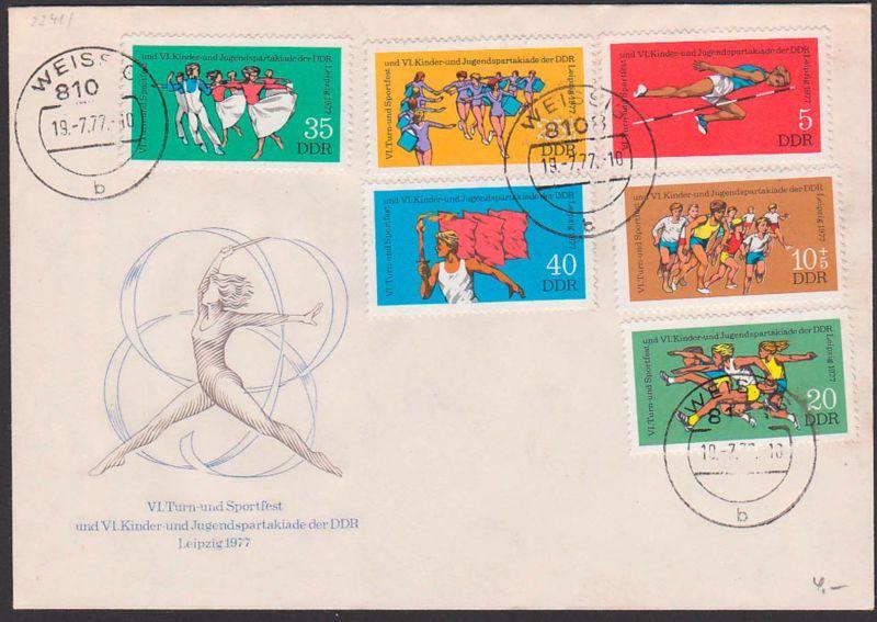 Leipzig 1977 FDC 2241/46 Weissig, VI. Turn- und Sportfest Kinder- u. Jugendspartiakade, Fahnenträger Hochsprung