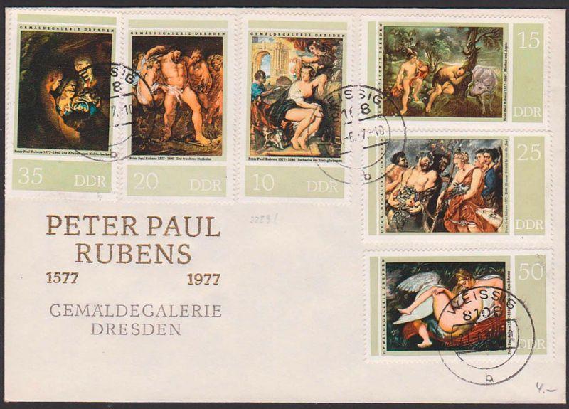 Gemälde Dresden Peter Paul Rubens 1577 - 1977, Leda mit dem Schwan  FDC DDR 2229/34 mit Tagesst. WEISSIG