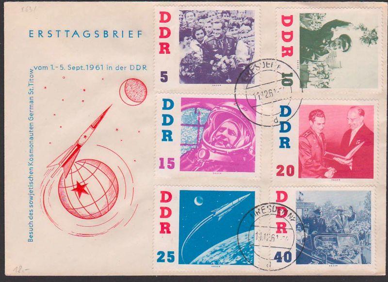 German St. Titow Besuch in DDR mit Walter Ulbricht, FDC DDR 863/68 Tagesst. DRESDEN, auf einem FDC-Umschlag