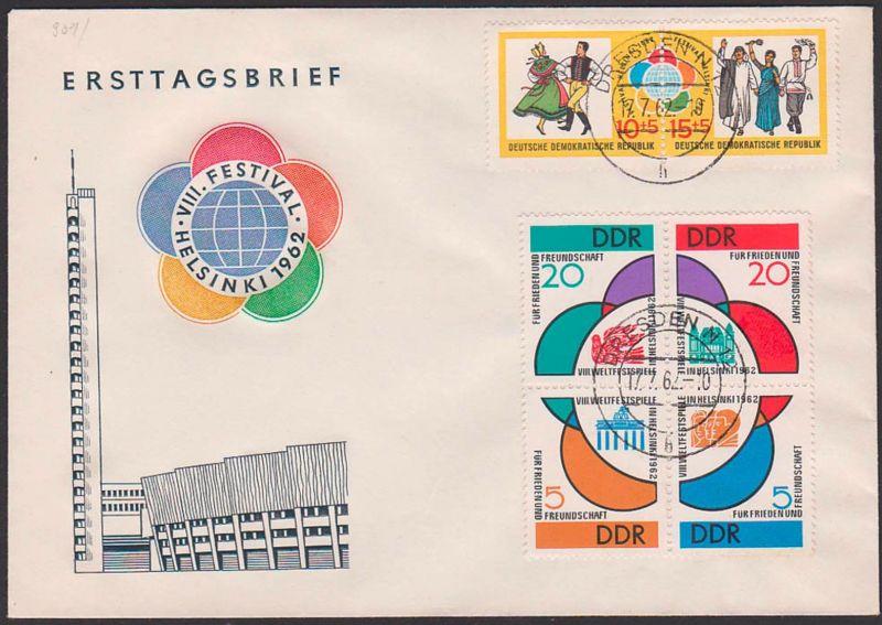 Weltfestspiele in Helsinki 1962, Friedenstaube, FDC DDR 901/06 Tagesst. DRESDEN N12, auf einem FDC-Umschlag