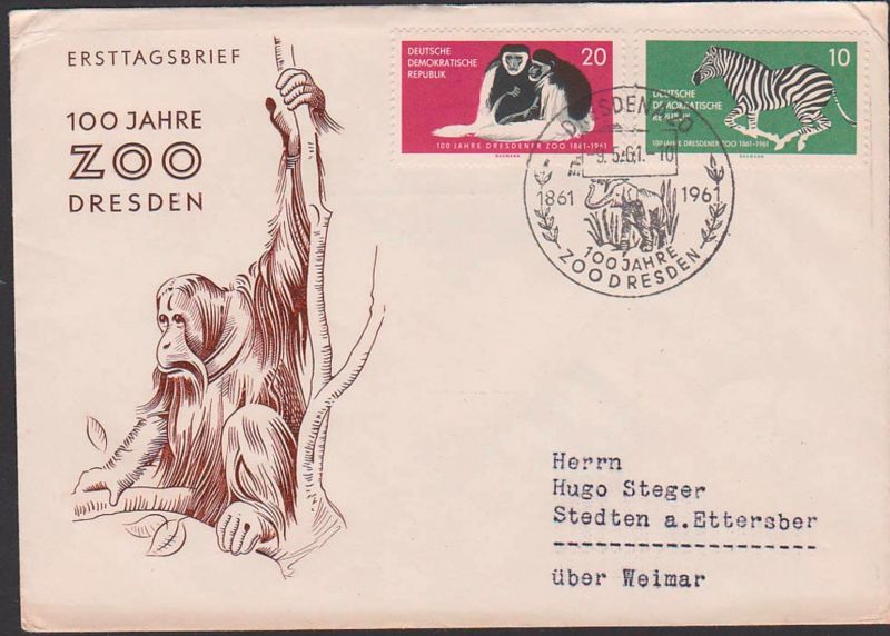 Zoo Grant Zebra, Kilimandscharo-Guerezas, Elefant FDC DDR 825/6, befördert, 100 Jahre Zoo Dresden