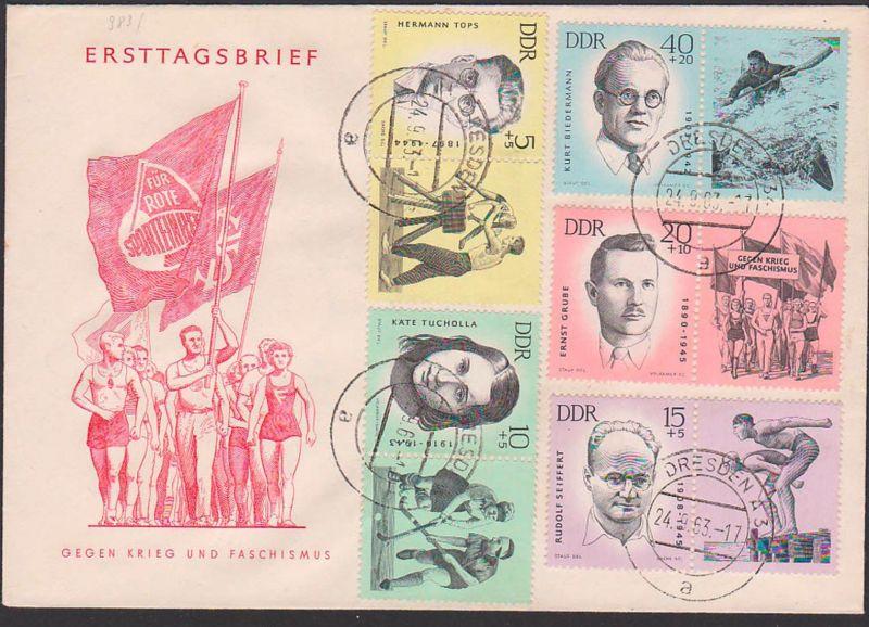 antifaschistische Sportler Rudolf Seiffert, Kurt Biederman FDC DDR 983/97 mit Zdr. auf einem Umschlag, Gegen Krieg