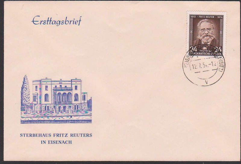 Fritz Reuter Schriftsteller  Sterbehaus in Eisenach  FDC DDR 430, Weisswasser Oberlausitz,