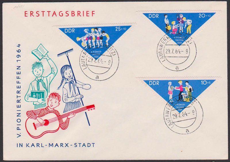 Pioniertreffen Chemnitz Karl-Marx-Stadt Dreieckmarken FDC DDR 1045/7,Tagesst. Lautawerk laussitz