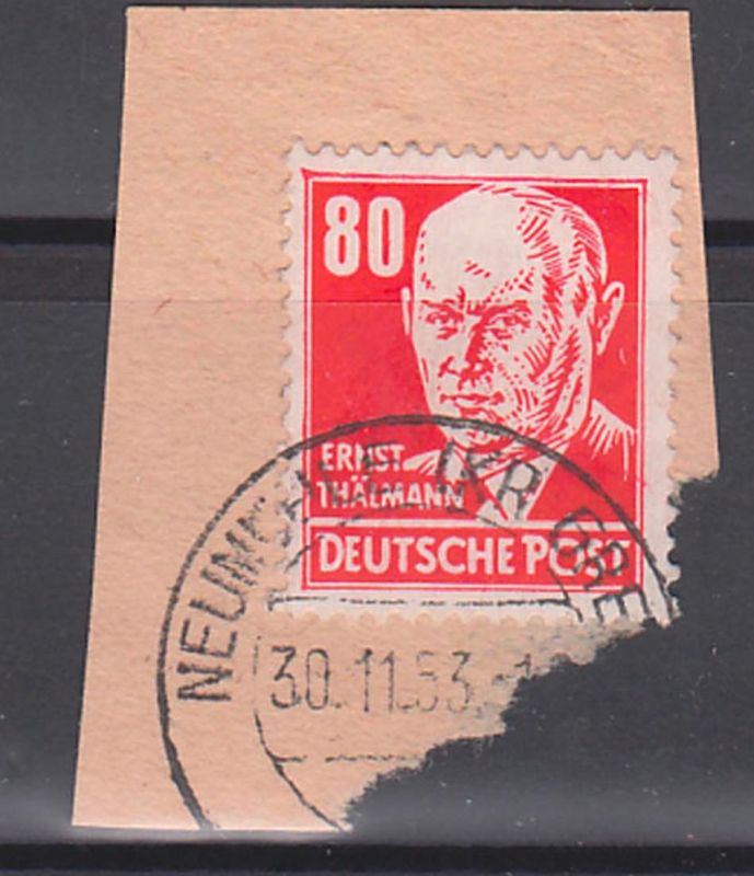 Ernst Thälmann 80 Pf rot DDR 340 (17,-) Germany Briefstück, Arbeiterklasse, Politiker