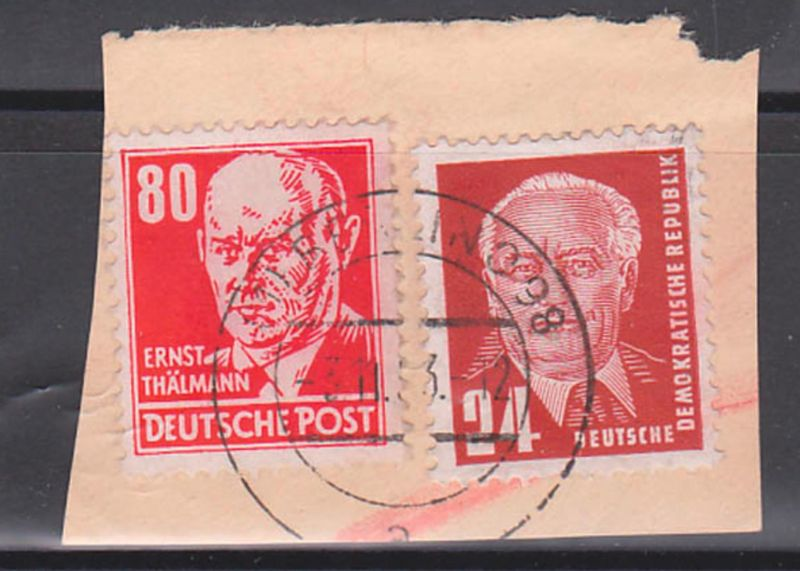 Ernst Thälmann 80 Pf rot DDR 340 (17,-) Germany Briefstück, Arbeiterklasse, Politiker, gest. BERLIN O17