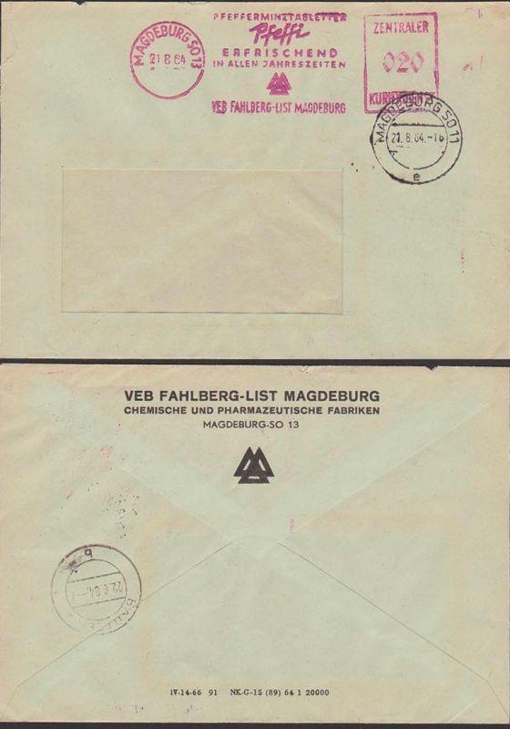 Magdeburg SO13, DDR ZKD AFS 21.8.64 VEB Fahlberg-List, Pfeffi Pfefferminztabletten erfrischend in allen Jahreszeiten
