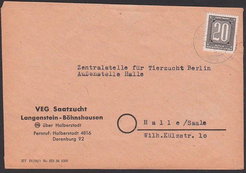 DDR ZKD B3 Langenstein-Böhnshausen üb. Halberstadt VEG Saatzucht 1956