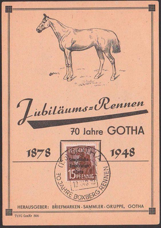GOTHA 1878 - 1948 Jubiläumsrennen Boxbrgrennen Abb. Pferd horse Anlasskarte cheval, SBZ Germany east