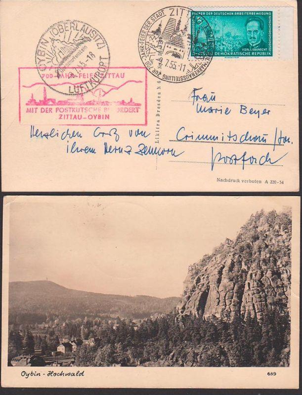 Zittau Oybin (Oberlausitzt) 1955 Sonderbeförderung mit Postkutsche, 700 Jahrfeier, Scharfenstein, Foto-Ak  Hochwald