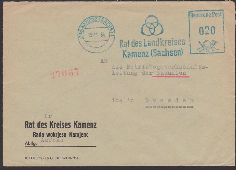 Kamenz (Sachsen) AFS 15.11.54 mit den 3 Ringen aus Nathan der Weisse, Rat des Kreises Kamens Dienstpostbeleg, Lessing