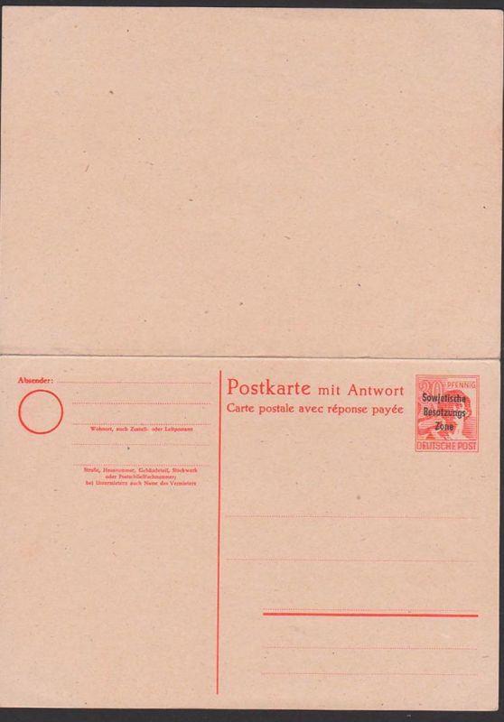 SBZ 6 30/30 Pf Doppelkarte ungebraucht mit SBZ-Aufdruck, P33, carte postale ave response payee