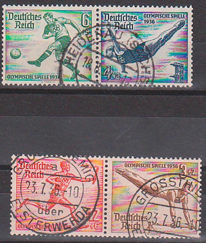 Allemagne Deutsches Reich Olympische Spiele 1936 used, Zusammendrucke, football swimming Fackelläufer DR W105, W109