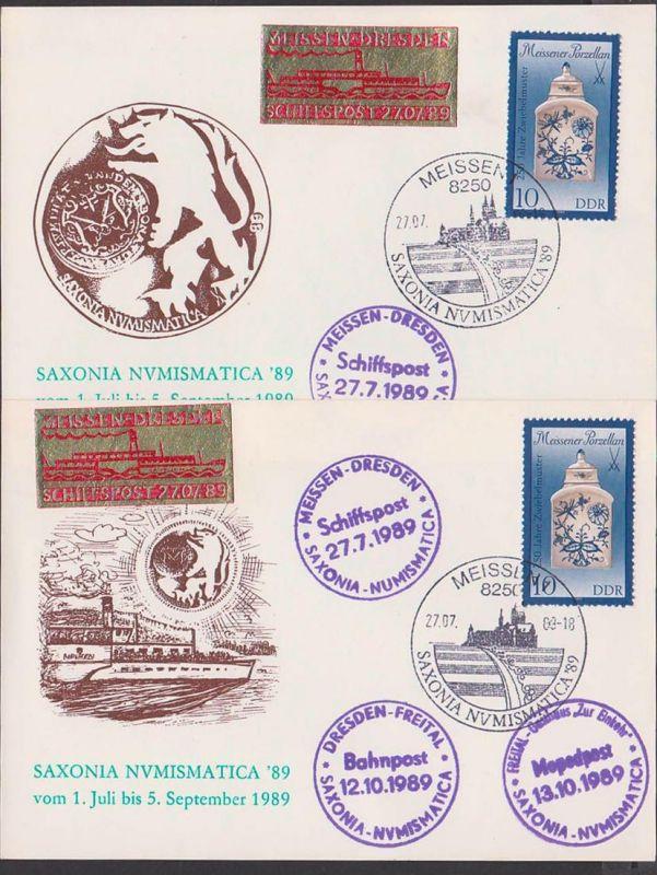 Meissen Sachsen Saxonia Schiffspost Meissen - Dresden 1989, Schmuckkarten. Bahnpost Mopedpost, Vignette