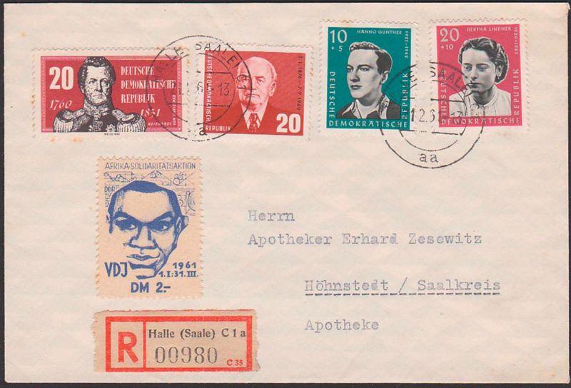 Afrika Solidaritätsaktion Vignette VDJ 1.I. - 31. III. 1961, R-Brief Halle nach Höhnstedt, portogenau Wilhelm Pieck