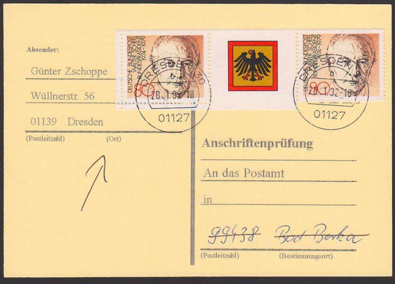 Walter Scheel Bundespräsident 80 Pf. aus Block in MeF auf Anschriftenprürung, Bundesadler, portogenau