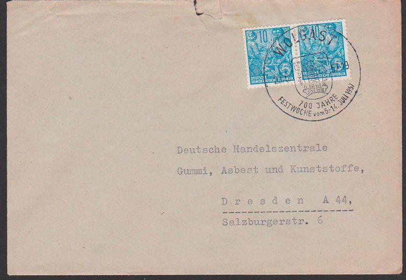 WOLGAST 700 Jahre Festwoche  23.6.57 SoSt. mit Wappen Heraldik, Abs. rs. St.