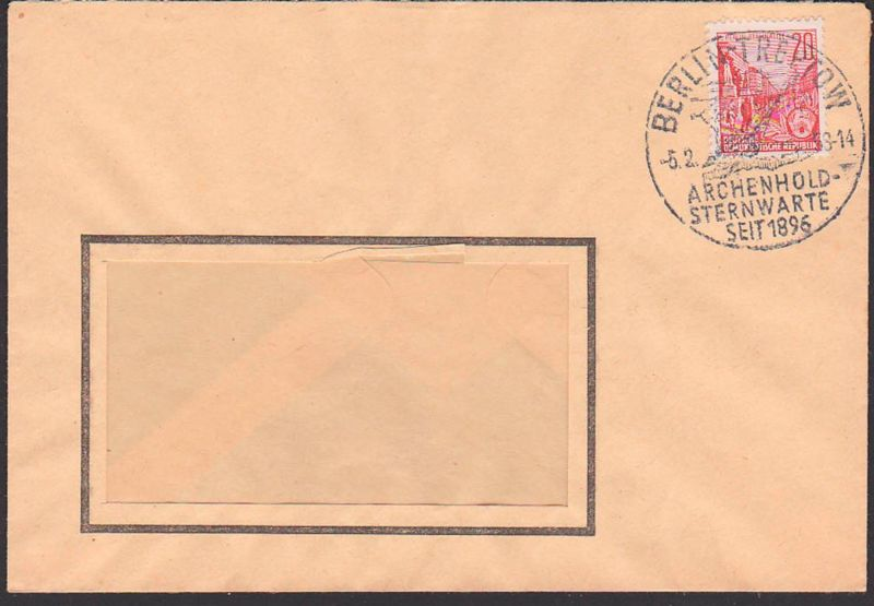 BERLIN-TREPTOW 5.2.58 SoSt. ARCHENHOLD-STERNWARTE SEIT 1896, Abb. Fernrohr Teleskop Kosmos