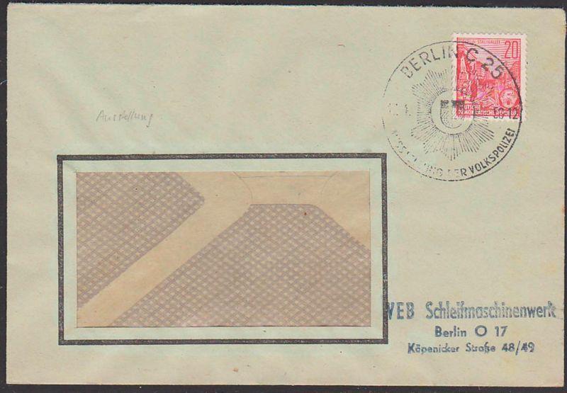 BERLIN C25, 11.4.56  SoSt. Ausstellung der Volkspolizei Abb. Dienstsiegel Wappen Heraldik