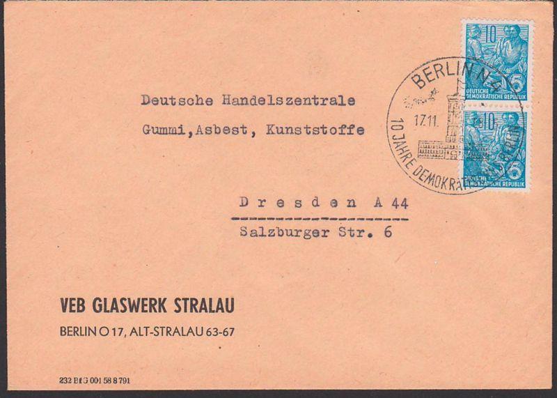 BERLIN N4 17.11.58 SoSt. 10 Jahre Deutsche Demokratische Republik Abb. Rotes Rathaus, Abs. VEB Glaswerk Stralau