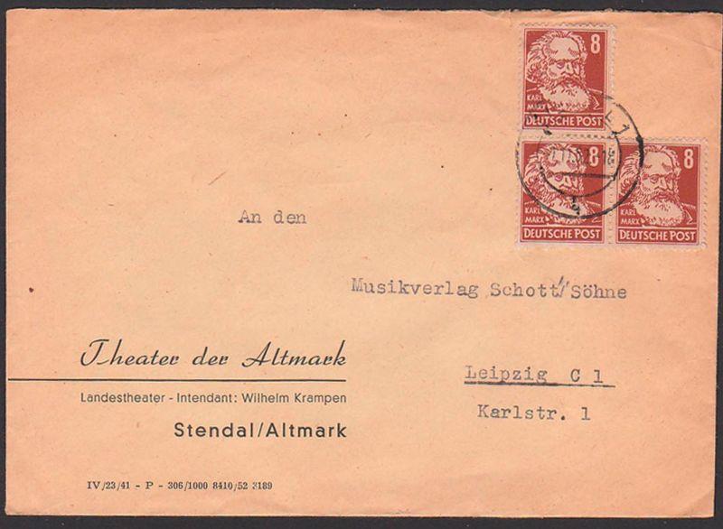 Stendal Altmark Fernbrief 1.11.52 mit 8 Pf. (3) Karl Marx aus Köpfe I, Theater der Altmark portogenau, Intendant Krampen