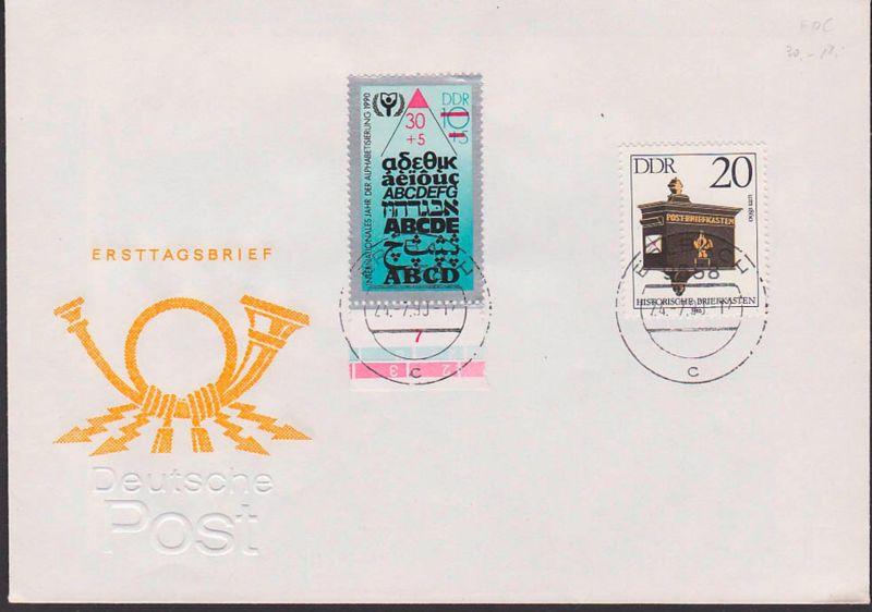 Alphabetsierung DDR 30+10 Pf MiNr. 3353 in MiF mit 20 Pf historische Briefkästen, FDC für ABC-Marke 24.7.90