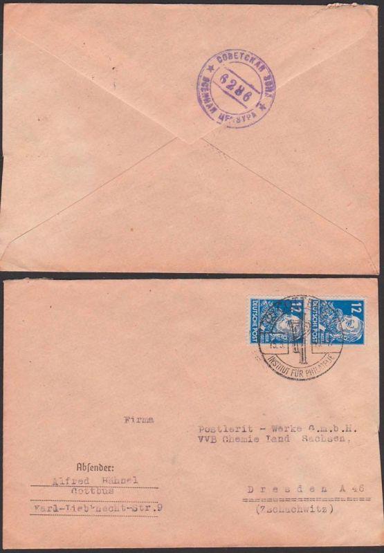 SBZ russiche Zensur sowjetskaja Sona Nr. 6286 Brief aus Cottbus nach Dresden 15.3.49, SoSt. Institut fü Philatelie