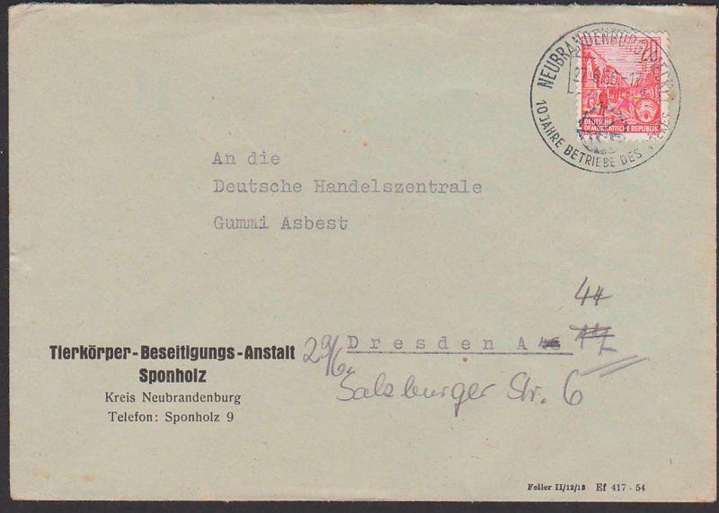 Neubrandenburg Mecklenburg 27.6.56 Betriebe des Volkes, Abs. Tierkörper-Beseitigungs-Anstalt Sponholz